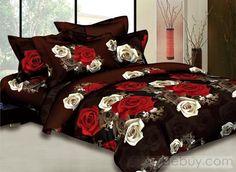 Lujo Natural 4 Bed Piece Juegos de edredones con champán rosa roja (Envío Gratuito)