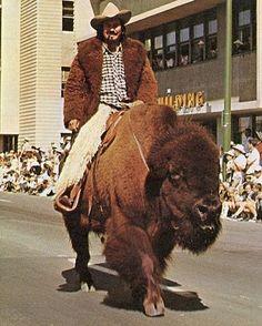 Man on a buffalo.