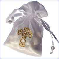 Organza Bag With Gold Cross First Communion Favor http://www.alittlefavor.com/products/116/lisacrossorganzabag/organza-bag-with-gold-cross-first-communion-favor.html
