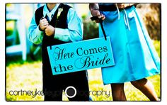 Here comes the Bride Sign with And They by OurHobbyToYourHome, Etsy.com