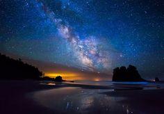 Milky Way over Second Beach by Joe LeFevre