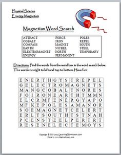 Classroom Freebies: Magnetism Word Search