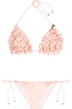 MIU MIU  Floral-appliqué triangle bikini