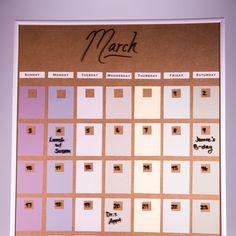 Paint Chip Dry Erase Calendar #diy #craft #calendar