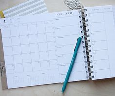 Monthly planner with the weeks visible for the whole month. Great idea for doing a DYI planner. Hmmmm....