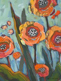 Yellow Orange Flowers Original Painting