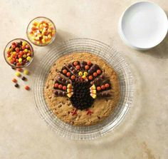 Turkey cookie - huge chocolate chip cookie decorated to look like a turkey! Fun to make with kiddos!