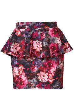 Topshop Floral Peplum Mini Skirt