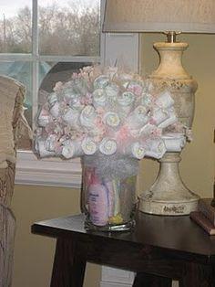 Diaper rose bouquet, instead of diaper cake.