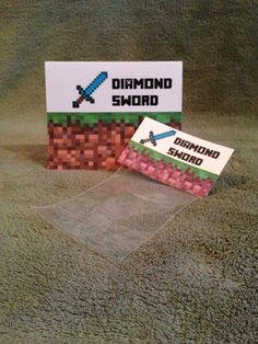Minecraft Party Diamond Sword Favor Bags, Labels & Tent Sign  #Minecraft
