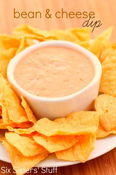 This Bean and Cheese Dip from SixSistersStuff.com makes an easy and delicious appetizer! #recipe #dip #cheese