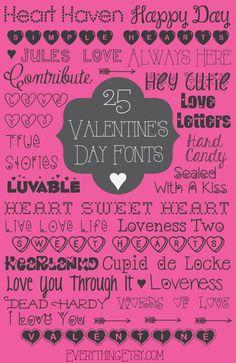 Valentine's Day Fonts {free} - EverythingEtsy.com