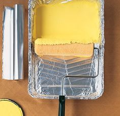 Cover paint trays with aluminum foil.