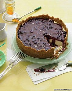 Cheesecakes // Cheesecake with Blueberry Topping Recipe