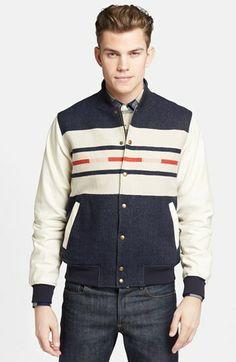 Pendleton Portland Collection 'Franklin' Camp Stripe Varsity Jacket   Nordstrom