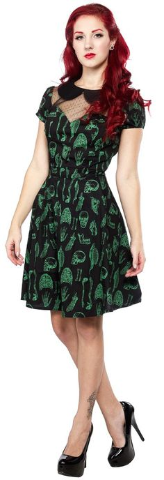 HELL BUNNY ANATOMY MINI DRESS This Anatomy Mini dress will leave your heart pounding! Hell Bunny has done it again with this amazing style. The peter pan collar and swiss dot style mesh at the chest make this silhouette devilishly delightful! And the best part - the allover anatomical print in a ghoulish green! $51.00 #hellbunny #dress #anatomy #halloween