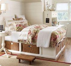 bed frames, extra storage, under bed storage, platform beds, storage beds, guest rooms, storage ideas, pottery barn, bedroom