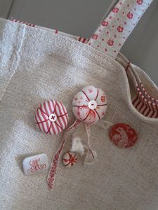 Linen purs, pincushion, linens, minis, buttons, decorations, bags, embellishments, red work