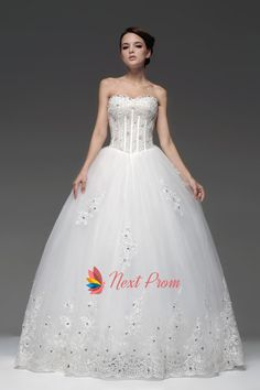 Sweetheart Basque Waist Tulle Beading Appliques Princess Wedding Dress