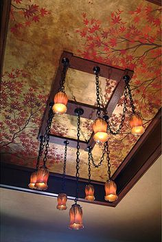 Chinoiserie Ceiling. not big on the light, but what a cool idea for the ceiling!