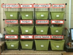 labeled storage for classroom supplies