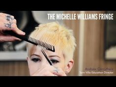 How To Create the Flicked Double Identity Michelle Williams Fringe | Video Haircutting Tutorial, Hairstyling, Hipster Bangs, Short Hair, Blonde Hair, Celebrity Hair, Beauty Launchpad Magazine