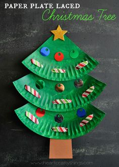Make this adorable Christmas tree Kids Craft out of a paper plate. Add some learning skills into it by incorporating some lacing practice while decorating your Christmas Tree. | From I Heart Crafty Things
