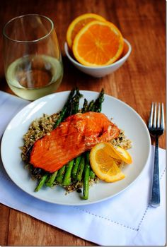Maple Grilled Salmon with Cauliflower Rice | iowagirleats.com