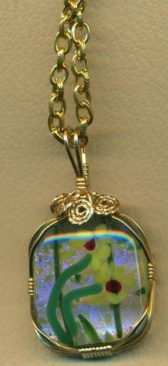 Dichroic Fused Glass Gold Wire Wrap Pendant