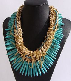 gorgeous turquoise and gold necklace