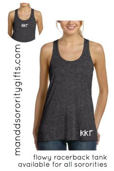 $19.98 Kappa Kappa Gamma Tank Top with Optional Greek Letters On The Back. Our Silky Soft Greek Tank Top Will Be Your Go To Sorority Tank Top In Your Closet! Made Of 52% Polyester, 48% Viscose. Important: This A Very Loose Flowy Tank Top. Super Cute With Shorts, Leggings Or Thrown Over A Swimsuit! Wear To The Gym Or To Dinner!