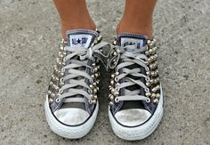 Studded Converse All Star. chanel handbags, chanel bags, designer shoes, designer handbags, converse, star, stud, outlets, fashion designers