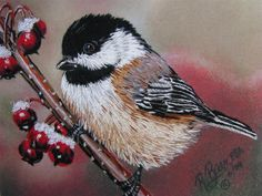 A Chickadee in long and short stitch, original painting by Roby Baer PSA.