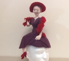 Handmade Needle Felted Hat - Red Hat Society Doll / Hat. $175.00, via Etsy.