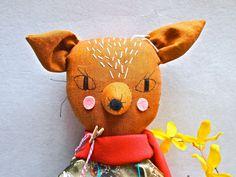 Rag doll cloth art doll linen embroidered face Molly Dolly, Felicity Fox.