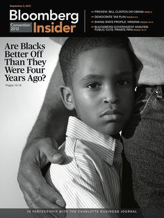 """Bloomberg Insider, September 5, 2012  Art director: Arthur Hochstein  Daily magazine produced at the Democratic Convention""""Are Blacks Better Off Than They Were Four Years Ago?"""""""