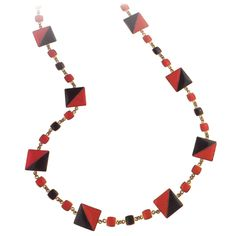 """Wiener Werkstatte Red & Black enamel on copper necklace circa 1920-1925. Attributed to Vally Wieselthier. Approxiamately 30"""" long. Made in Vienna Austria."""