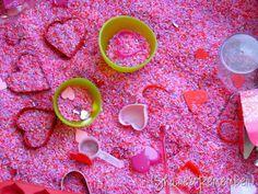 Valentine colored rice sensory bin