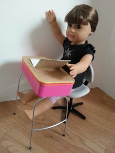 American Girl Doll Crafts and Fun!: Back to School Series Craft #3 How to Make a Doll School Desk