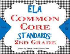 These 2nd Grade COMMON CORE ELA Posters are sure to add vibrant color to your classroom decor! These vibrant colored posters will surely be a great EYE-CATCHER for your students, as well!! More importantly, these posters will help you account for EVERY COMMON CORE ELA Standard when teaching.   Included are ALL Literature, Informational, and Foundational Skills Standards for 2nd Grade!
