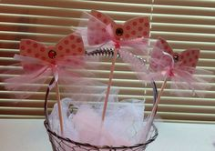 Pink and White Bow Decorations for Birthday parties, baby showers.