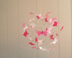 Butterfly Mobile Pink Nursery Baby Girl Mobile Nursery Art
