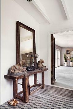 Reclaimed wood for foyer table