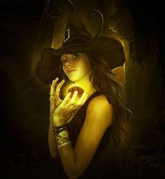 witchi woman, digit art, black magic, magic ball, fantasi art, elenadudina, witchi stuff, elena dudina, halloween