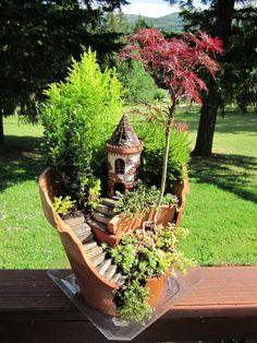 DIY Mini Gardens • Ideas  Tutorials! Including this broken pot miniature garden from the garden diaries.