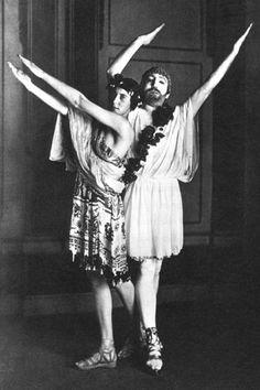 "Denise and Paul Poiret in costume as Juno and Jupiter for ""Les Festes de Bacchus,"" June 20, 1912."