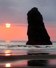 canon beach, beauti sunset, oregon cannon beach
