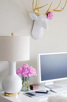 interior design, desk space, antler, home office decor, desks, deer heads, white gold, pink peonies, home offices