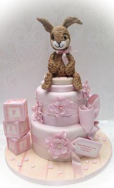 Sugar bunny christening cake