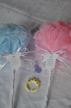 Pink and Blue Bath Puff Baby Rattle Unique Baby Shower Favor